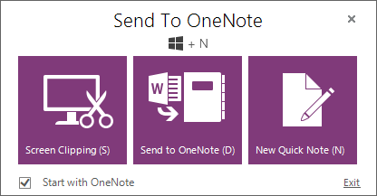 Send to OneNote screen shot